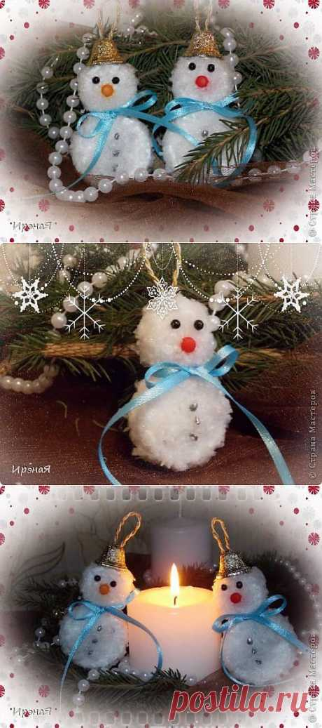 Snegovichki-Christmas tree decorations!!! It is already time to prepare for NG) Very simply and absolutely from unexpected materials. Do not throw out, what at you is at home)