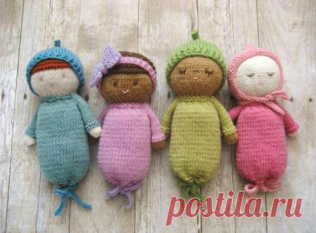 Вязание кукол единым полотном.