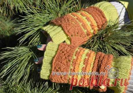 Ажурные митенки ленивым жаккардом (вязание, схемы и фото) - Irena Handmade