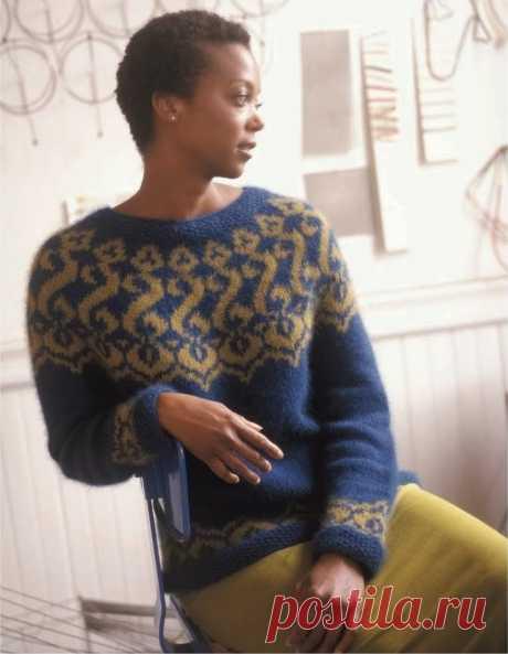 Пуловер с жаккардовой кокеткой Moorich