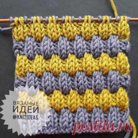 Двухцветный узор на основе резинки 2 на 2 (Вязание спицами) – Журнал Вдохновение Рукодельницы