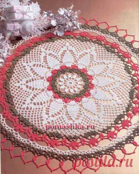 Трехцветная салфетка (Вязание крючком)   Ромашка - Вязание для всех