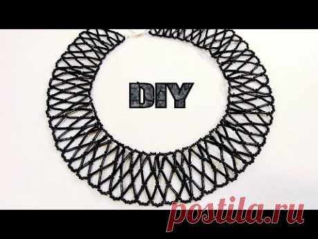 Колье ПАУТИНКА из Бисера и Стекляруса Своими Руками / Beaded Necklace DIY / necklace handmade