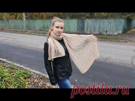#палантин #knitting #вязание                   Воздушный палантин спицами. Подробный МК.