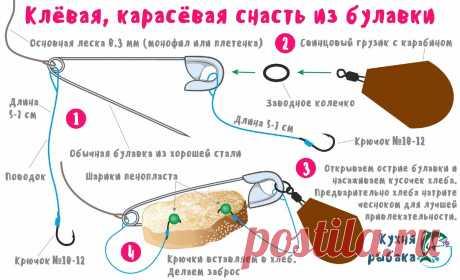 Карасёвая снасть из булавки | Кухня рыбака | Яндекс Дзен