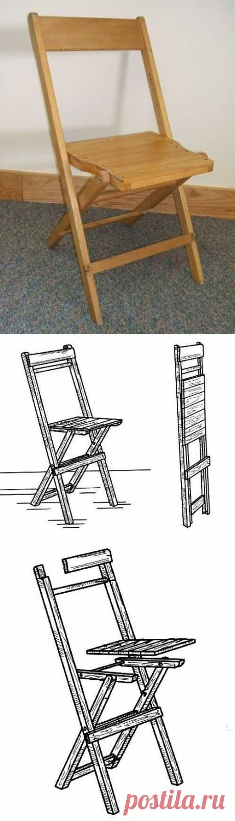 Folding wooden chair the hands