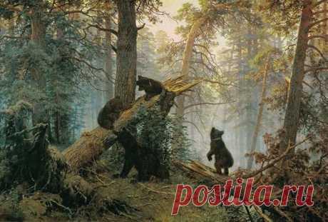 """История одного шедевра - Иван Шишкин, """"Медвежье семейство в лесу"""". Кого Шишкин видел в этих медвежатах?"""