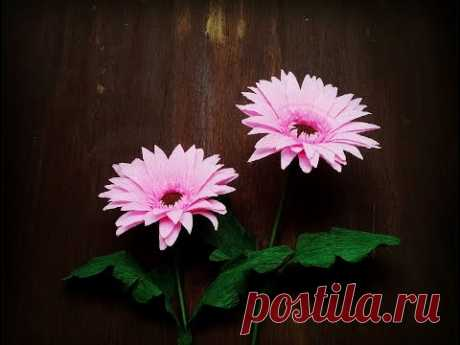 How To Make Gerbera Flower From Crepe Paper - Craft Tutorial
