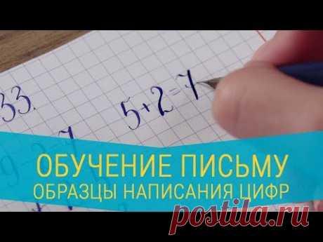 Обучение письму. Образцы написания цифр, оформления примеров и задач