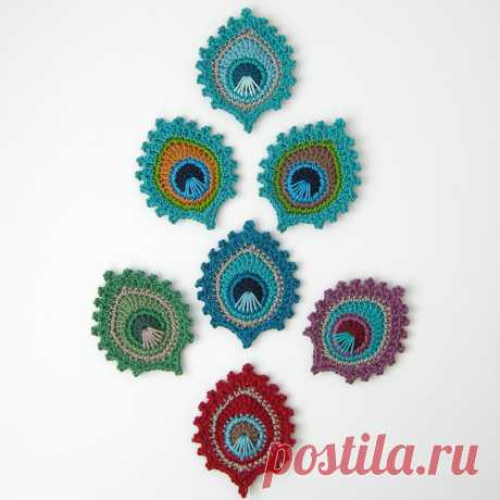 "Ravelry: Crochet Peacock Feather ""Burma"" Motif and BOOKMARK pattern by Christa Veenstra"