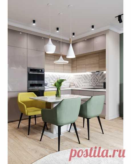 Интерьер кухни-гостиной Как вам такое сочетание приглушенных оттенков?😉