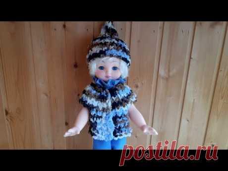Шапка-пипка и жилет спицами / Кукольный эпизод - 3 #вязание