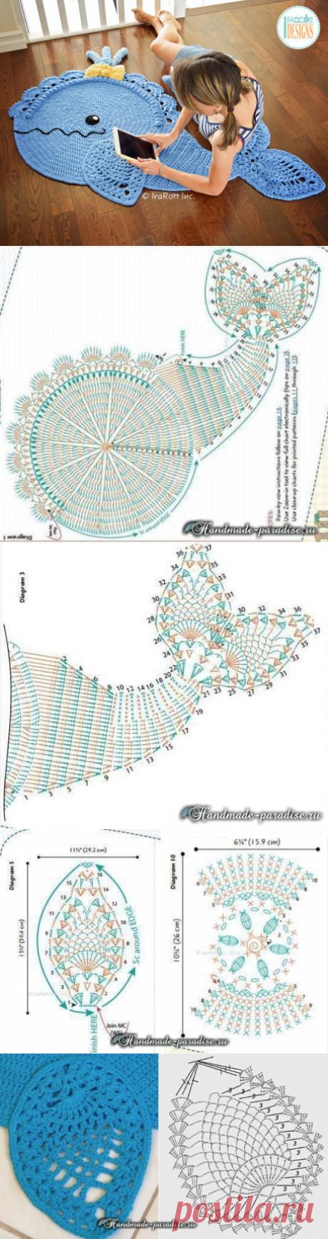 Вяжем забавный коврик в виде рыбки — Сделай сам, идеи для творчества - DIY Ideas
