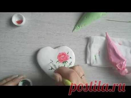 Роспись по мокрому рисунок роза. Роспись пряников с Юлией Милье./how to decorate wet on wet cookie