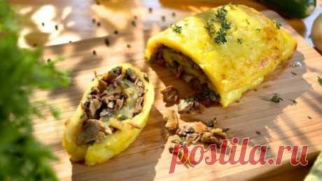 Картофельный рулет с грибами