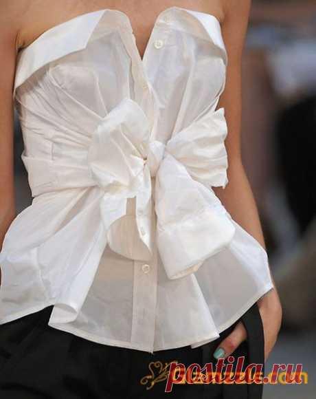 Переделки: Топы и блузы из рубашки — Рукоделие