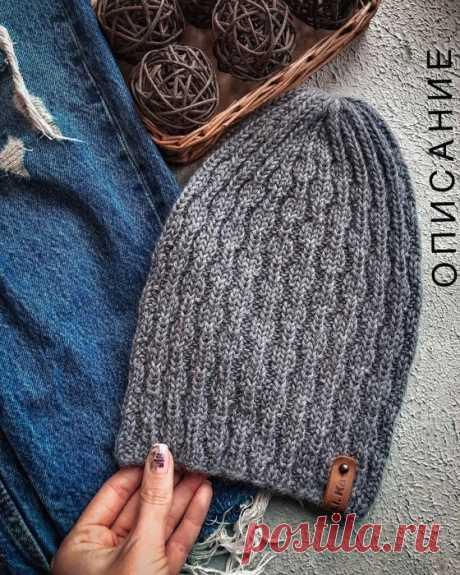 Описание стильной шапочки (Вязание спицами) – Журнал Вдохновение Рукодельницы