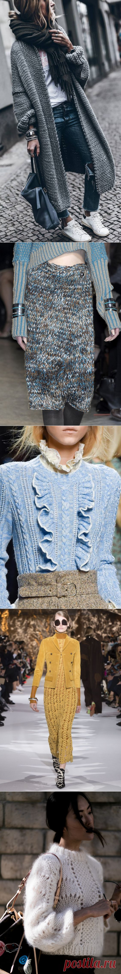 100 fashionable models: Knitting Fall-winter of 2017-2018 on a photo