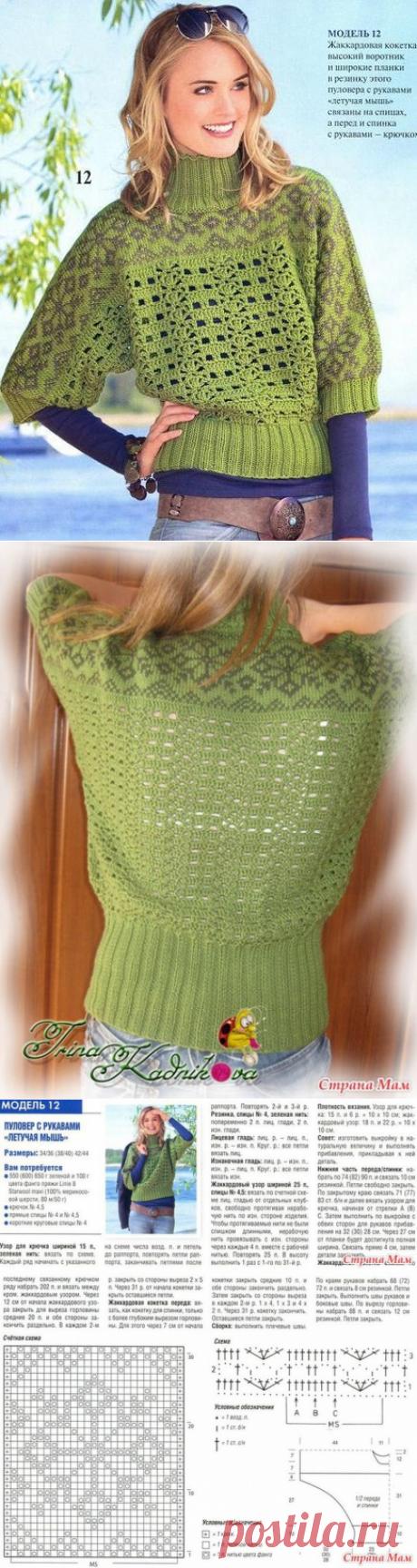 Вязаный свитер с горлом. Вязаные женские свитера со схемами |