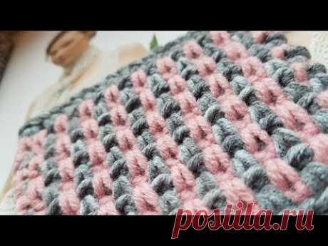 Вяжем двухцветный узор крючком ✔ knitting pattern.