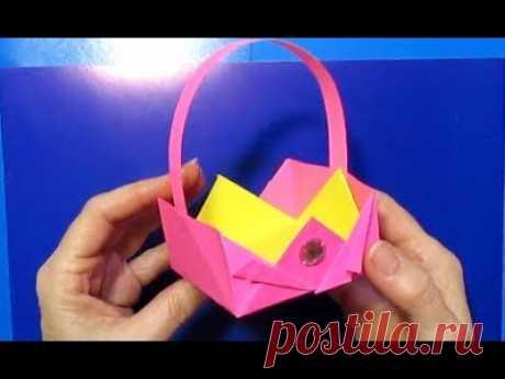 Красивая Корзинка Оригами Из Бумаги. Сделать Корзинку Своими Руками.Подарки Поделки на Пасху МК.