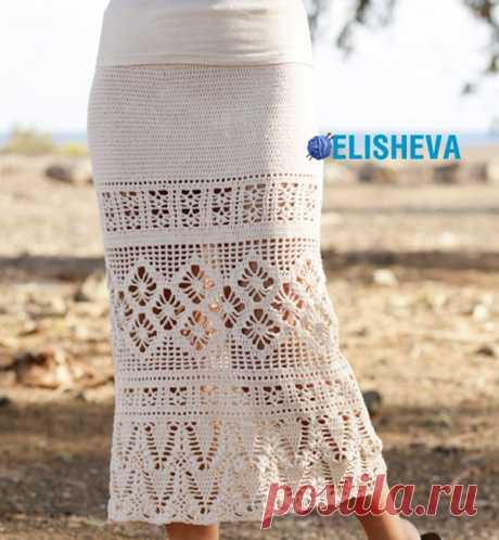 Летняя юбка миди с ажурными узорами от Drops Design, вязаная крючком | Блог elisheva.ru