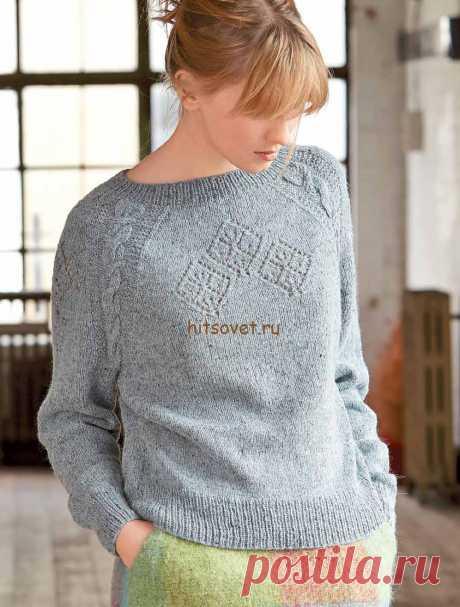 Классический пуловер спицами женский