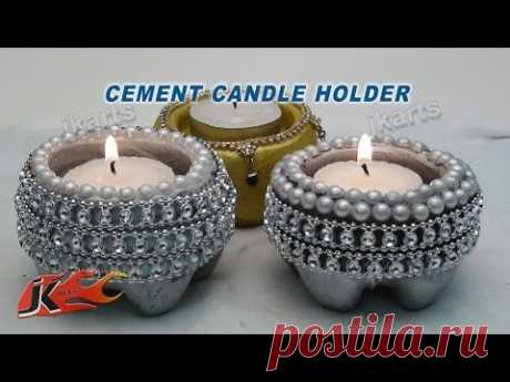 Cement Candle Holder | DIY How to make | JK Arts 101