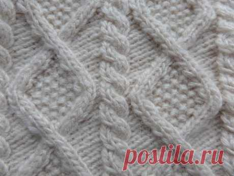Узор Ромбы. Вязание спицами по кругу. Knitting(Hobby).