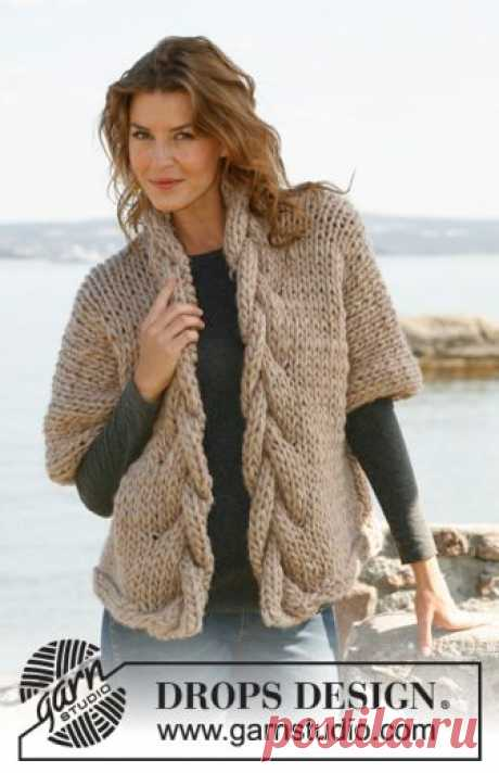 """Sophisticated Twist / DROPS 133-36 - Free knitting patterns by DROPS Design Knitted DROPS wide jacket with cables in """"Polaris"""".  Size: S - XXXL"""