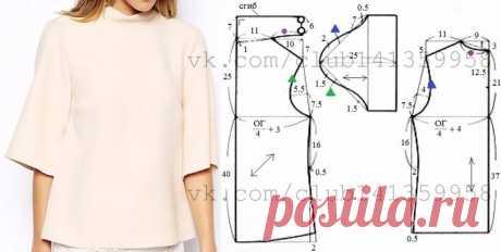 Выкройка-шаблон блузы прямого силуэта с укороченными втачными рукавами и цельнокроеным воротником