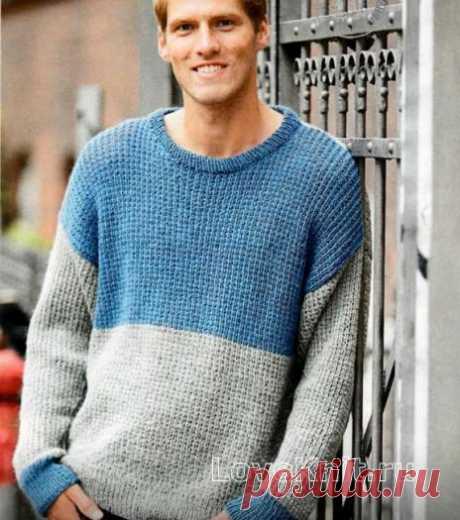 Двухцветный мужской пуловер схема Для мужчин » Люблю Вязать