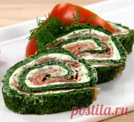 Рулет из шпината и лосося рецепт с фото пошагово - 1000.menu
