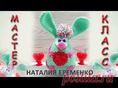 Мятный зайка-валентинка крючком // мастер-класс toyfabric