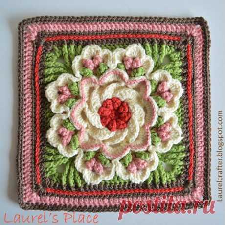 Как связать бабушкин квадрат с цветами крючком