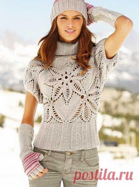 Пуловер Пряный цветок. Вязание спицами   Умелые ручки