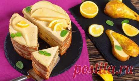 Грушевый торт с лимонным кремом Идеальное сочетание сочных коржей с ароматом специй и нежного крема с лёгкой кислинкой.
