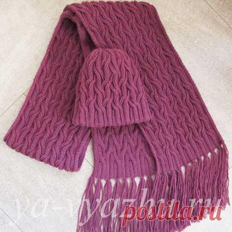 Как связать женскую шапку и женский шарф спицами   Вязальное настроение...