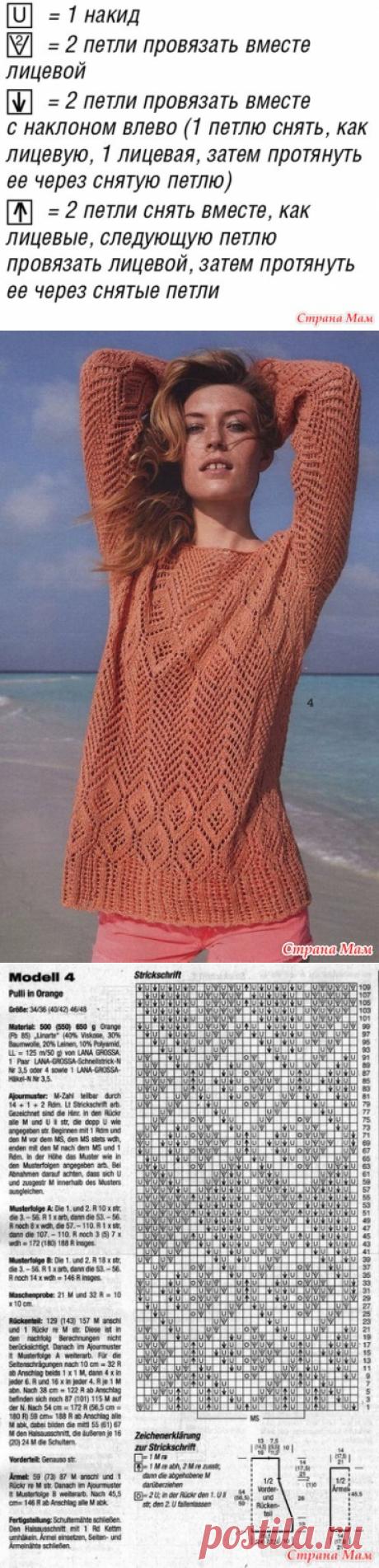 Летний ажурный пуловер спицами - Вязание - Страна Мам
