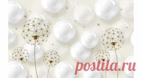 Фотообои 3D Одуванчики и белые шары | Фотообои на заказ - купить в интернет магазине Все Фотообои