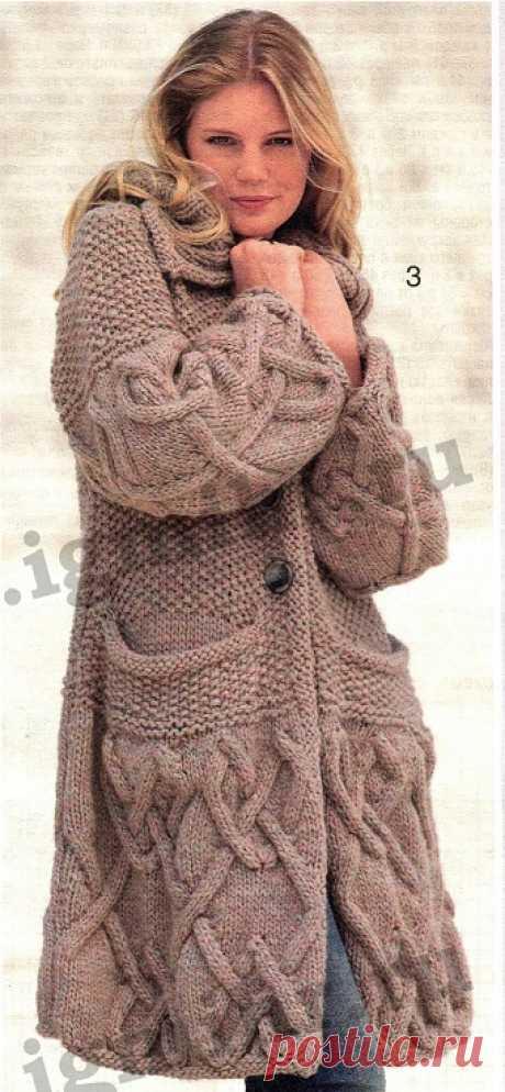 Вязаное пальто с карманами Вязаное пальто с карманами В статье представлены подробное текстовое описание вязания спицами данной модели и схема узора.