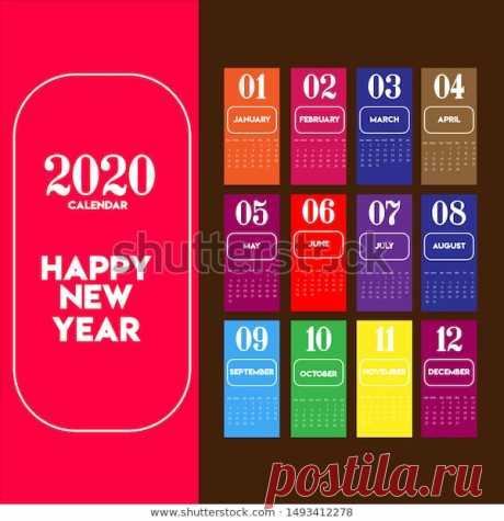 Calendar 2020 year. Vector Stock Illustration.