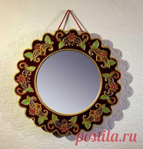 Зеркало в восточном стиле, диаметр 33 см ( можно рассматривать как комплект с часами в вочтоснойм стиле)