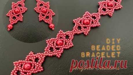 Red Fort Bracelet || DIY Beaded Bracelet & Earrings || Beaded Earrings