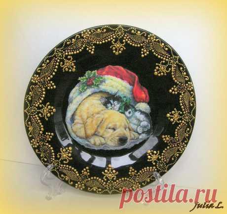 """Тарелка """"Рождественский подарок"""""""