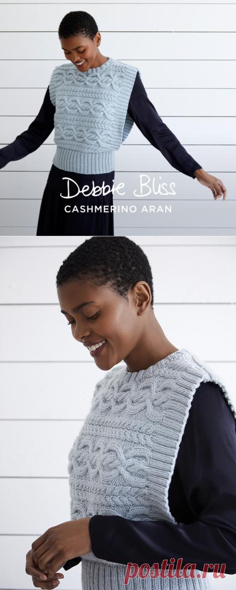 """""""Harriet"""" - Tank Top Knitting Pattern For Women in Debbie Bliss Cashmerino Aran by Debbie Bliss in Debbie Bliss - DB327 - Downloadable PDF"""