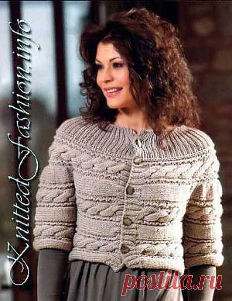 Cross jacket with braids - KnittedFashion.info