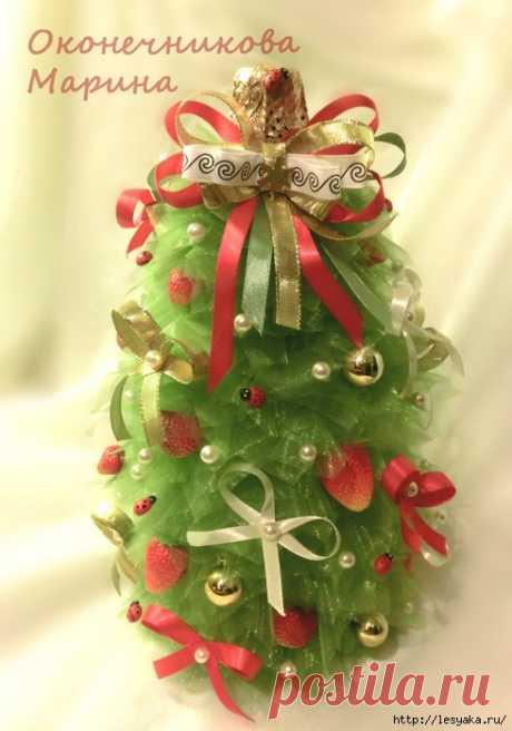"""""""Елка-бутылка"""" для украшения Новогоднего стола своими руками!"""
