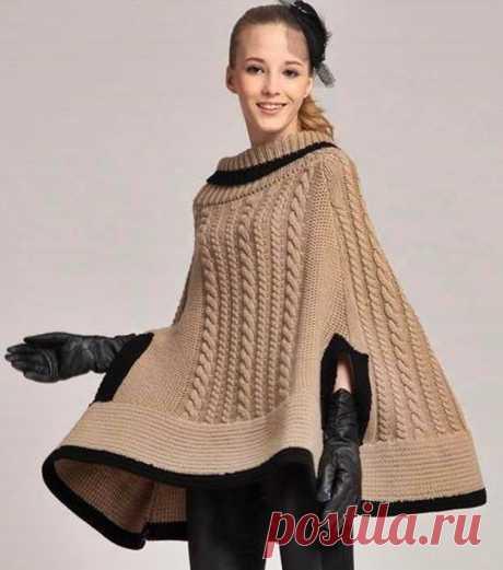 Dziana Moda: Ponczo na drutach z warkoczami
