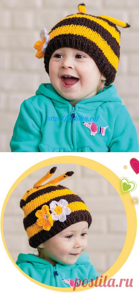 Шапочка «Пчелка» Спицами   Дидилка